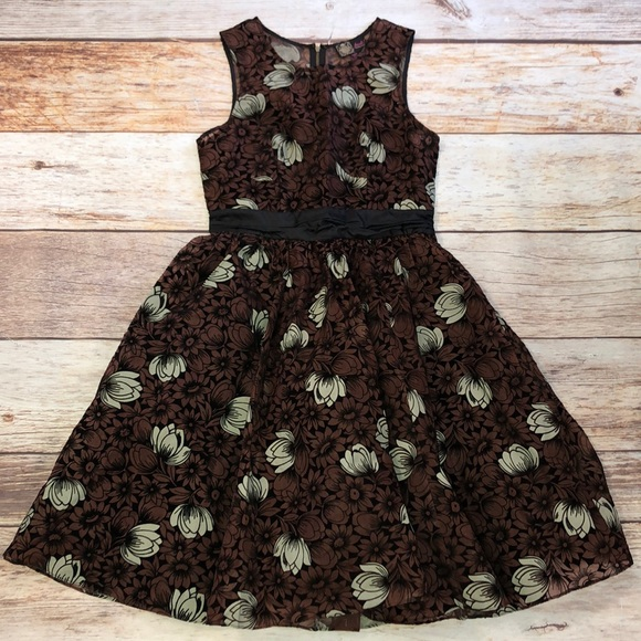 Anthropologie Dresses & Skirts - Frock by Tracy Reece Brown/black/white floral Sz 4